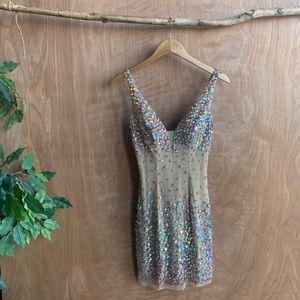 Sheri hill beige bedazzled prom dress